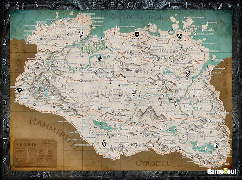 The Elder Scrolls: Skyrim Special Edition, mappa completa italiana