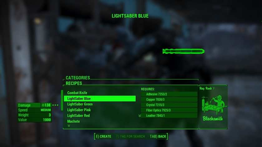 Fallout 4 Guida alle Mod Craftable Lightsaber (2)