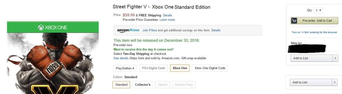 Street Fighter V Xbox One