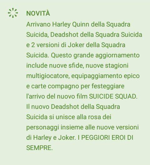 Aggiornamento Injustice Suicide Squad