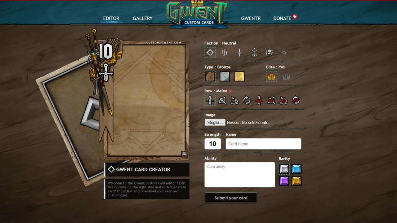 Gwent: crea la tua carta e vinci una beta key
