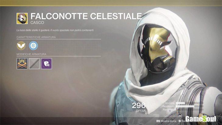Destiny 2 equipaggiamento esotico: Falconotte Celestiale