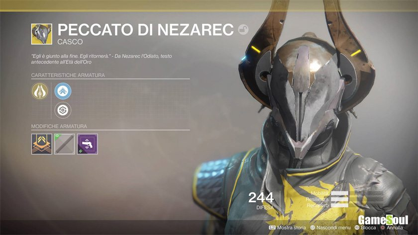Destiny 2 equipaggiamento esotico: Peccato di Nezarec