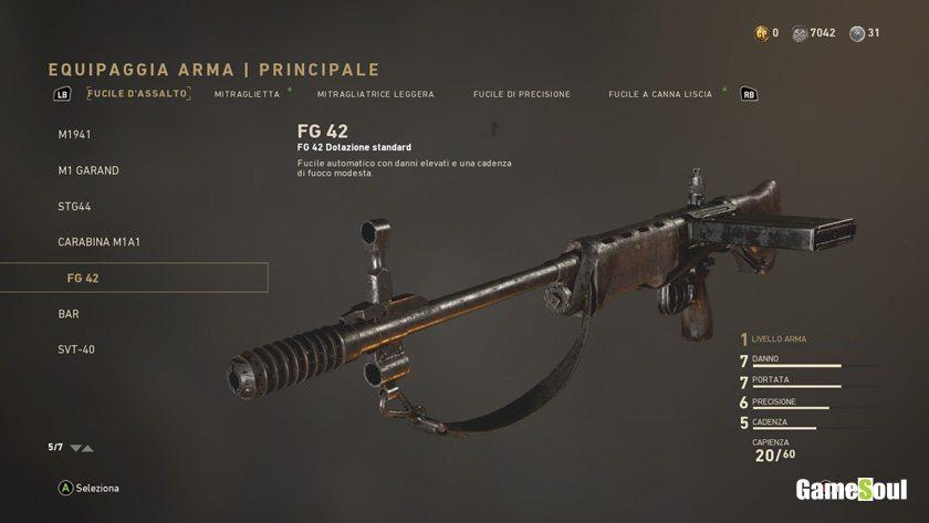 Call of Duty: WWII - configurazione ideale per il FG42