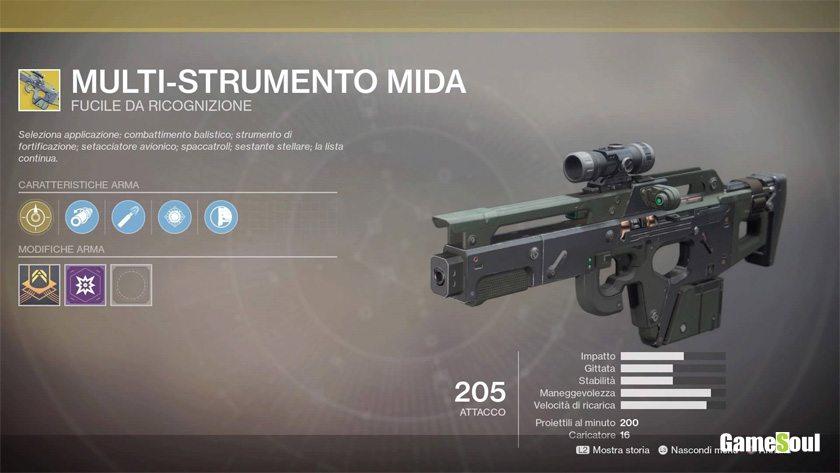 Destiny 2 equipaggiamento esotico: Multi-strumento MIDA