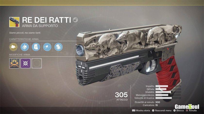Destiny 2 equipaggiamento esotico: Re dei Ratti