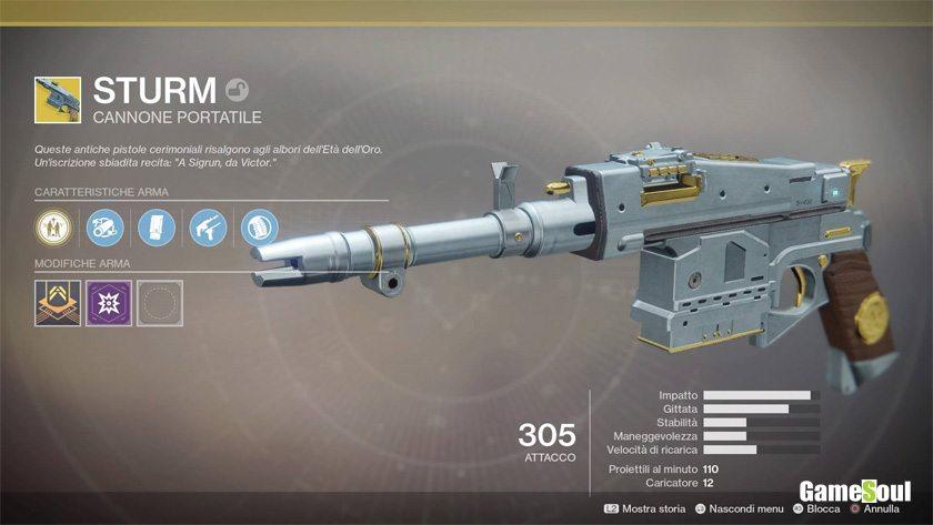 Destiny 2 equipaggiamento esotico: Sturm