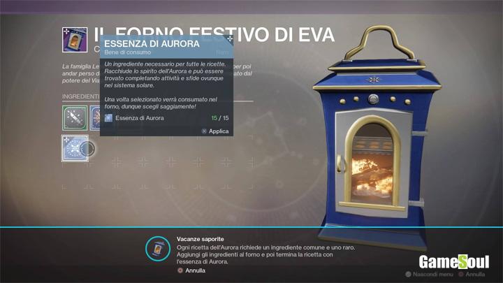 Destiny 2: Aurora - Tutte le ricette del forno festivo di Eva - Guida