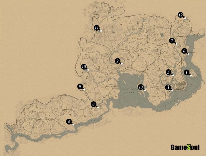 Red Dead Redemption 2 Mappa pesci leggendari