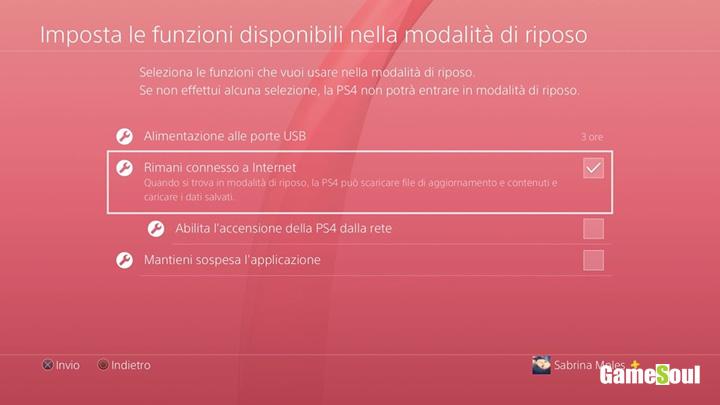 PS4 attivare la connessione internet durante la modalità risparmio energetico