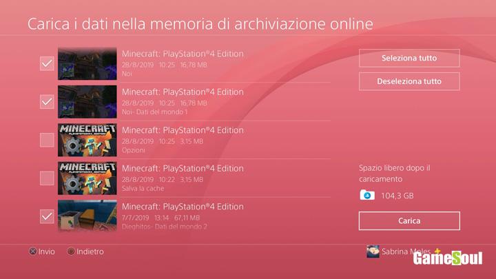 selezionare i files da caricare manualmente nel cloud PS4