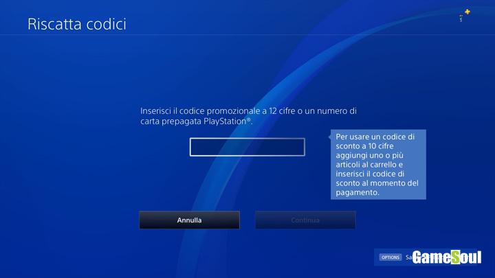 Dove inserire il codice in Playstation 4