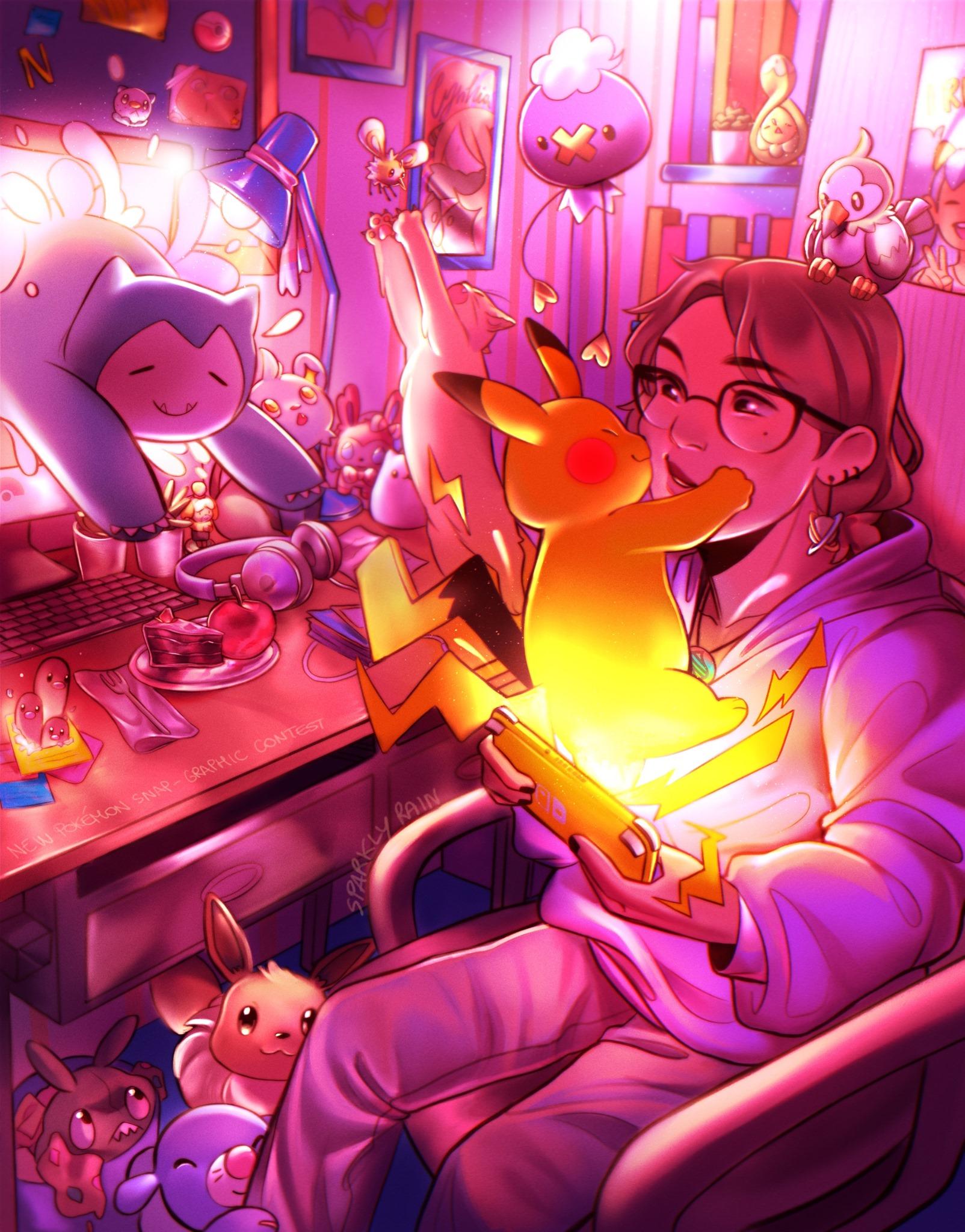 Sparkly Rain - New Pokémon Snap Graphic Contest